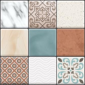 L'icône de carreaux de sol en céramique réaliste coloré définit différents types de couleurs et de motifs