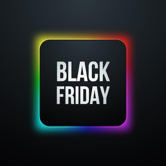 Icône carrée du vendredi noir avec lueur arc-en-ciel
