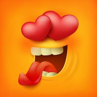 Icône carrée d'émoticône jaune visage souriant, sentiment d'amour.