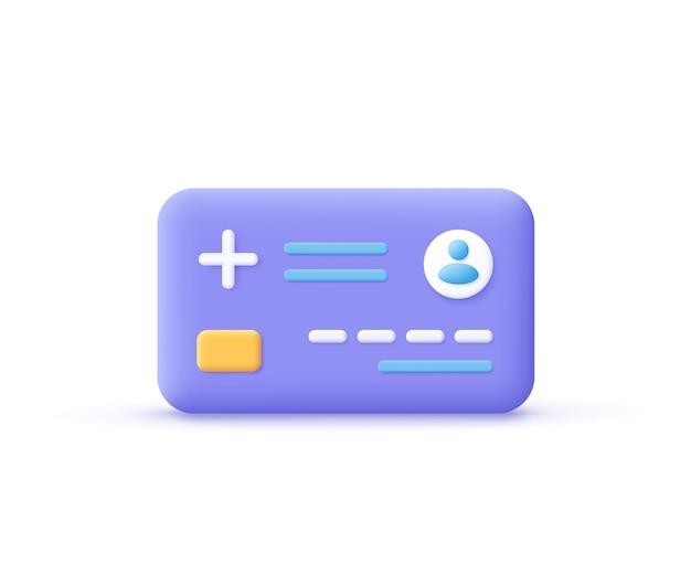 Icône de carte à puce de soins de santé. santé numérique et consultation médicale, carte à puce d'informations médicales, concept de carte d'organisation de soins de santé. illustration vectorielle 3d.
