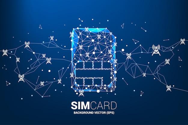 Icône de carte sim en forme de ligne polygonale se connecter avec antenne