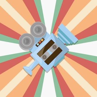 Icône de cassette vidéo et film rétro sur fond rayé