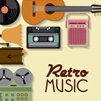 Icône de cassette vinyle guitare radio gramaphone