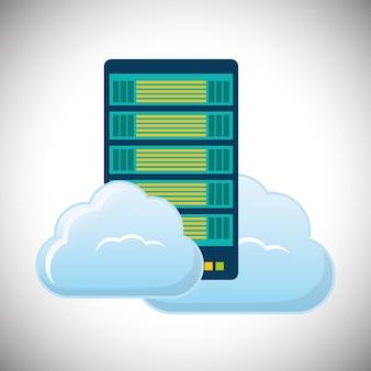 Icône de centre de données d'hébergement en nuage