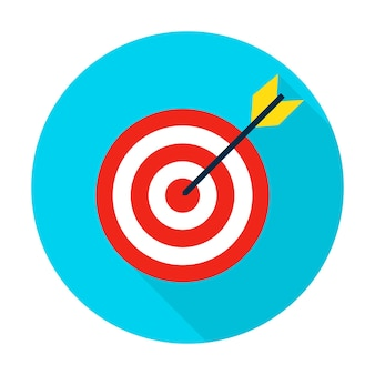 Icône de cercle cible. élément de style plat vector illustration avec ombre portée.