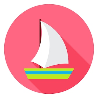 Icône de cercle de navire de mer plate avec ombre portée. illustration vectorielle plat stylisé