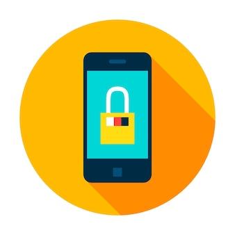 Icône de cercle sécurisé mobile. illustration vectorielle style plat avec ombre portée.