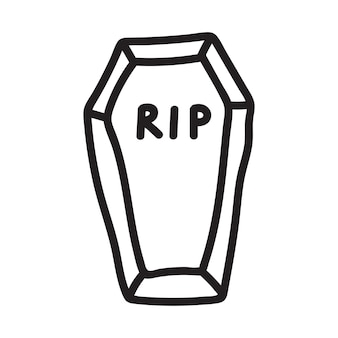 Icône de cercueil dessiné à la main dans le style doodle. illustration vectorielle isolée sur fond blanc.
