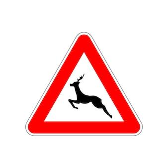 Icône de cerf sur le panneau de signalisation rouge et blanc triangle isolé sur blanc