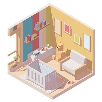 Icône de la chambre de bébé en coupe