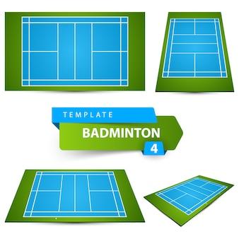 Icône de champ de badminton. quatre articles.