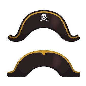 Icône de chapeau de pirate en style cartoon isolé sur fond blanc. illustration de stock de symbole de chapeaux.