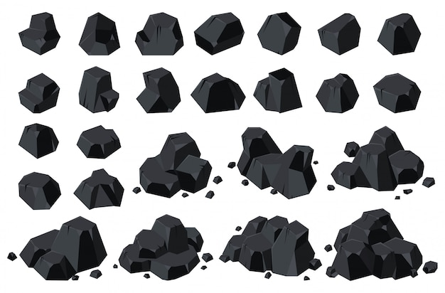 Icône de charbon isolé de dessin animé d'énergie.