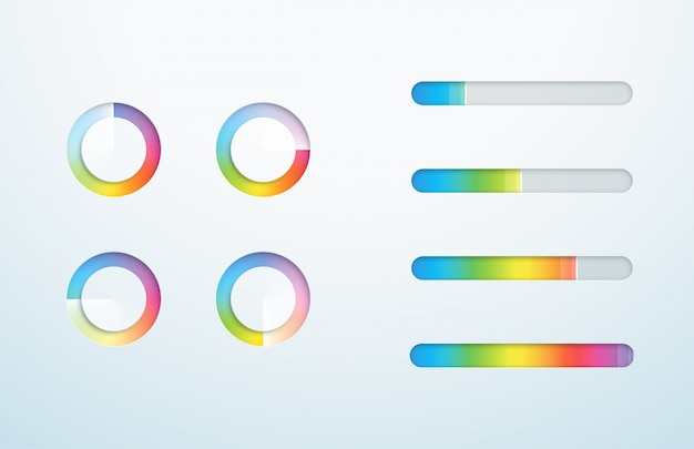 Icône de chargement symbole de barre de progression ensemble de dégradés