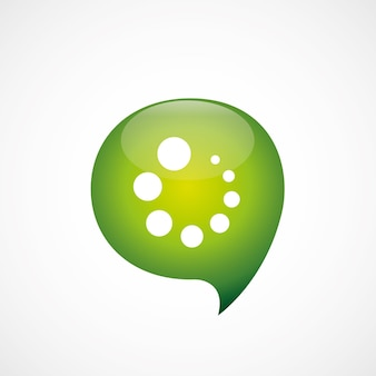 Icône de chargement vert penser logo symbole bulle, isolé sur fond blanc