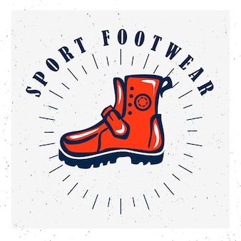 Icône de la chaussure. marque de logo de chaussure de sport. symbole de la chaussure. signe de sneaker de démarrage.