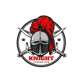 Icône de chevalier médiéval, emblème de vecteur avec guerrier