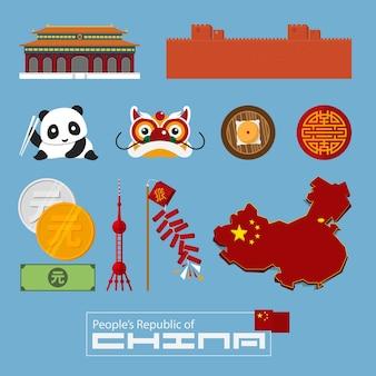 Icône chinoise et point de repère en design plat
