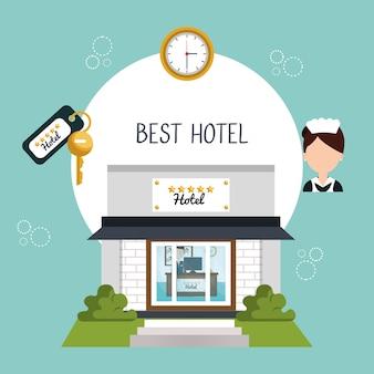 Icône de cinq étoiles de bâtiment hôtel