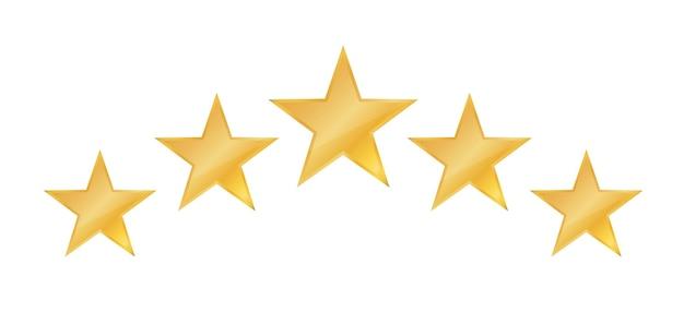 Icône de cinq étoiles icône de révision de notation d'étoiles pour le site web et les applications mobiles sur fond blanc