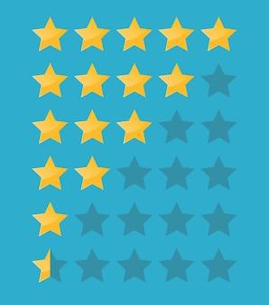 Icône de cinq étoiles isolé sur bleu