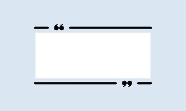 Icône de citation. contour de guillemets, bulle de dialogue, guillemets ou collection de marques parlantes avec un espace vide. cadre. vecteur eps 10. isolé sur fond.