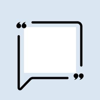 Icône de citation. contour de guillemets, marques de discours, guillemets ou collection de marques parlantes. carré