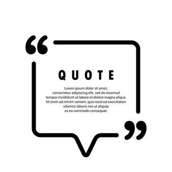 Icône de citation. contour de guillemets, marques de discours, guillemets ou collection de marques parlantes. forme carree. vide pour votre texte. cadre. vecteur eps 10. isolé sur fond.