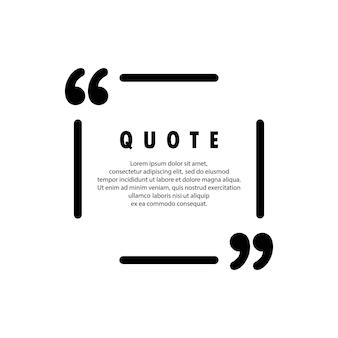 Icône de citation. contour de guillemets, marques de discours, guillemets ou collection de marques parlantes. vide pour votre texte. forme carree. vecteur eps 10. isolé sur fond.