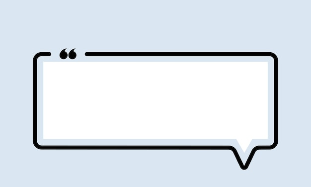 Icône de citation. contour de guillemets, marques de discours, guillemets, espace vide. forme carree. vecteur