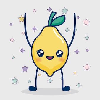 Icône de citron kawaii