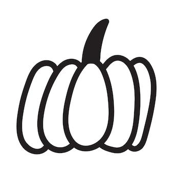Icône de citrouille noir et blanc. croquis de citrouille doodle. illustration vectorielle de contour végétal. image monochrome simple. illustration d'encre dessinée à la main
