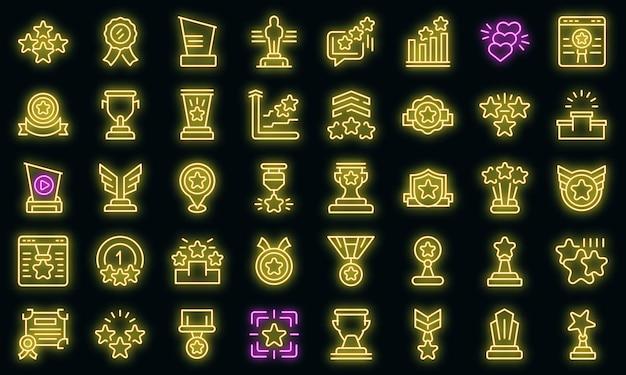 Icône de classement. décrire l'icône vecteur de classement couleur néon sur fond noir