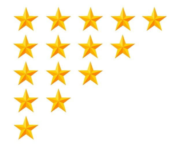 Icône de classement par étoiles d'or. jeu de badges. qualité, feedback, expérience, concepts de niveau. illustration sur fond blanc. page du site web et application mobile.