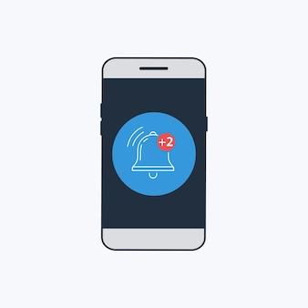 Icône de cloche de notification pour le message entrant de la boîte de réception sur l'écran du smartphone