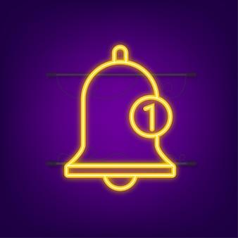 Icône de cloche de notification pour le message entrant dans la boîte de réception. icône néon. illustration vectorielle.
