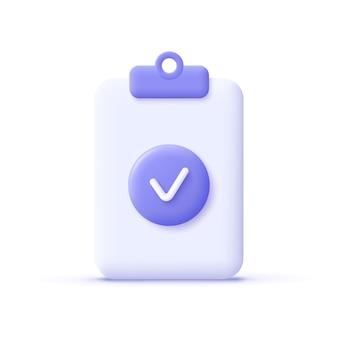 Icône de coche. notion d'approbation. document, fichier, presse-papiers, liste de contrôle. illustration vectorielle réaliste 3d.