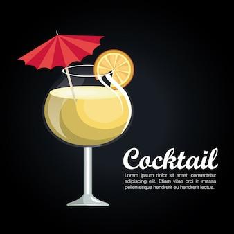 Icône de cocktail affiche tropical