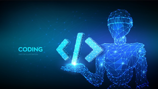 Icône de code de programmation. robot 3d abstrait tenant le symbole de code de programmation dans la main.