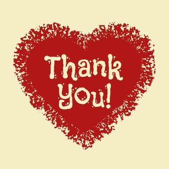 Icône de coeur merci modèle de carte avec icône de coeur grunge dessinés à la main texte de remerciement rétro