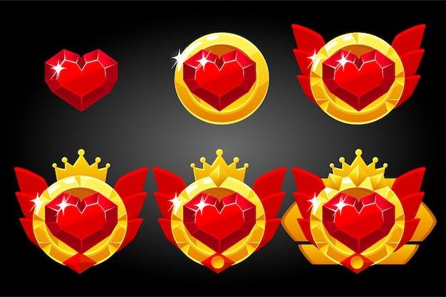 Icône De Coeur Rouge Symbole De Cartes à Jouer. Prix De Dessin Animé De Jeu Classé. Symbole De Réussite Et De Victoire De Badge. Vecteur Premium