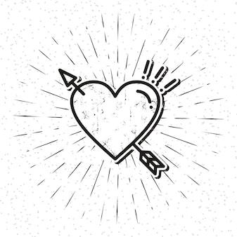 Icône de coeur vintage avec sunburst