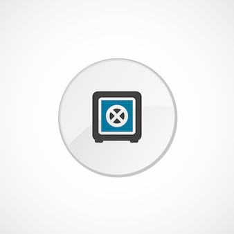 Icône de coffre-fort de banque 2 de couleur, gris et bleu, badge cercle