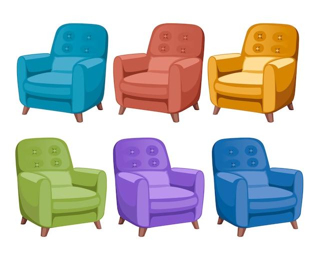 Icône de collection de fauteuils colorés. meubles, éléments de salle d'attente pour chambres et armoires.