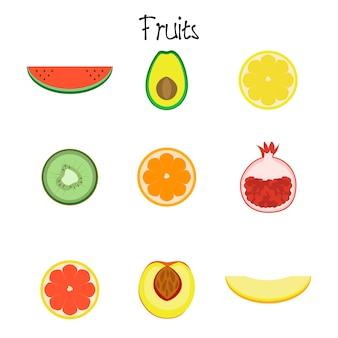 Icône de la collection de fruits isolé sur fond blanc