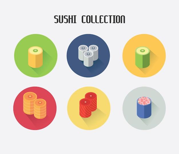 Icône de collection de sushi kawai coloré. convient pour votre nourriture d'icône