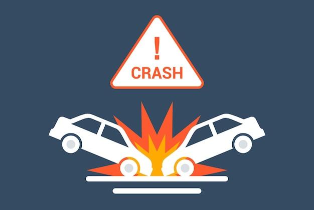 Icône de collision de voiture sur la route. illustration vectorielle plane.