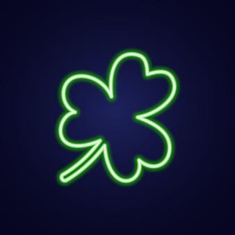 Icône colorée de contour de néon lumineux trèfle feuille