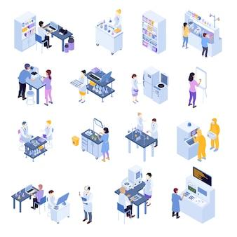 Icône colorée de laboratoire scientifique isométrique définie avec des travailleurs de laboratoire sur leurs lieux de travail