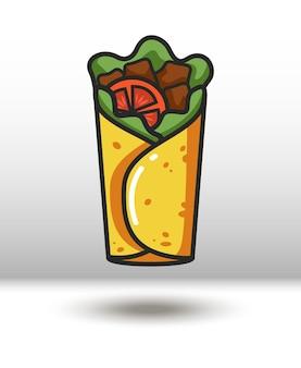 Icône colorée de vecteur de burrito isolé sur fond blanc
